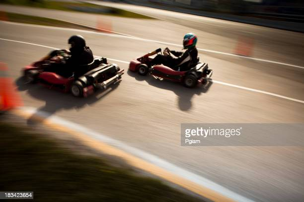 Competitive go-cart racing blurred