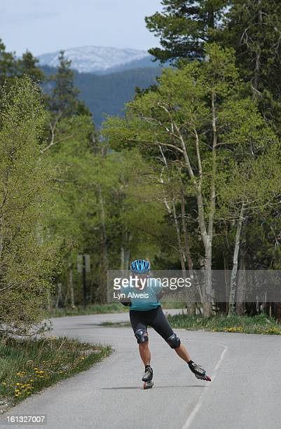 Competitive InLine skater Jackie Picard of Breckenriidge trains on the Vail Pass/Ten Mile Canyon Trail near Frisco