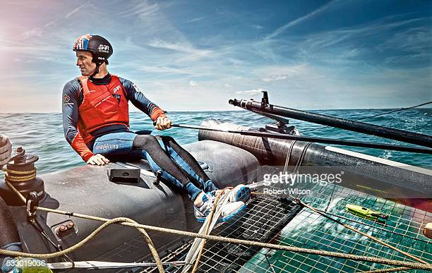 Competitive sailor Ben Ainslie is photographed for the Times on June 25, 2015 sailing on the Solent near Portsmouth, England.