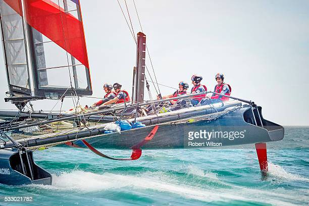 Competitive sailor Ben Ainslie is photographed for the Times on June 25 2015 sailing on the Solent near Portsmouth England