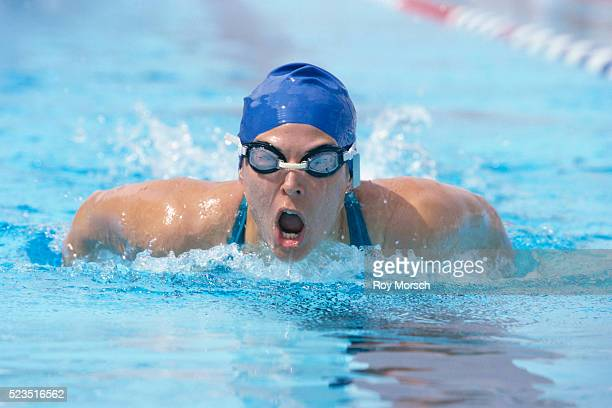 Competitive Swimmer Taking Deep Breath