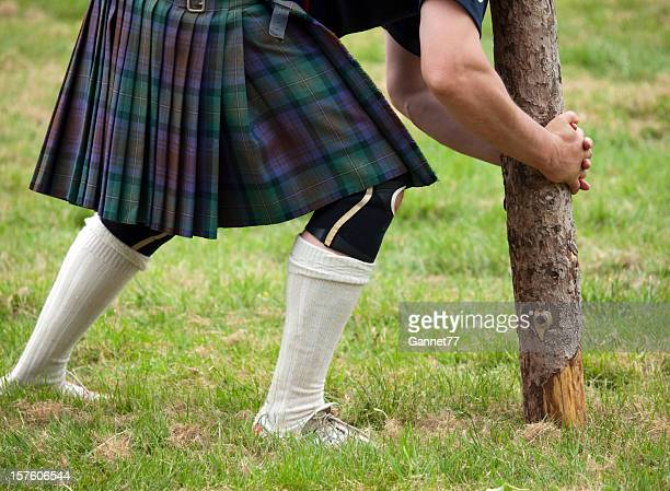 Competitor about to lift a caber