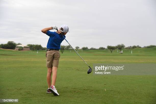Competitor attempts a drive during the 2021 Drive, Chip and Putt Regional Qualifier at TPC Scottsdale on September 26, 2021 in Scottsdale, Arizona.