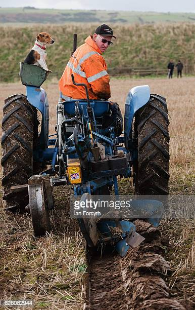 Competitor begins to plough during the annual ploughing match on November 27, 2016 in Staithes, United Kingdom. The event which is held each year in...