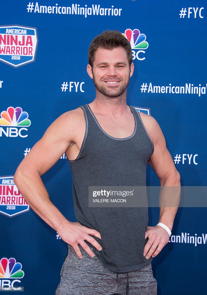 Competitor Ben Malick attends 'American Ninja Warrior' screening and course demonstration In celebration of the show's first Emmy Award nomination, at Universal Studio, in Universal City, California, on August 24, 2016. / AFP / VALERIE