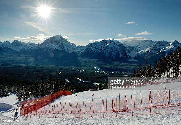 A competitor competes in the third women's downhill training session during the Alpine Skiing FIS World Cup at Lake Louise Canada on December 4 2014...