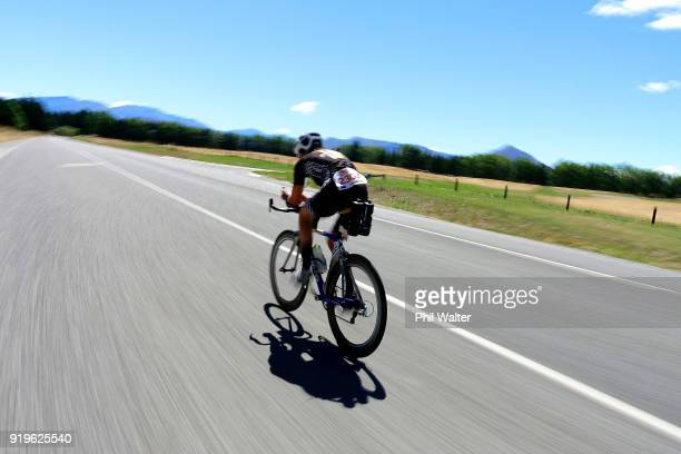 Competitor competes on the cycle during the 2018 Challenge Wanaka on February 17 2018 in Wanaka New Zealand