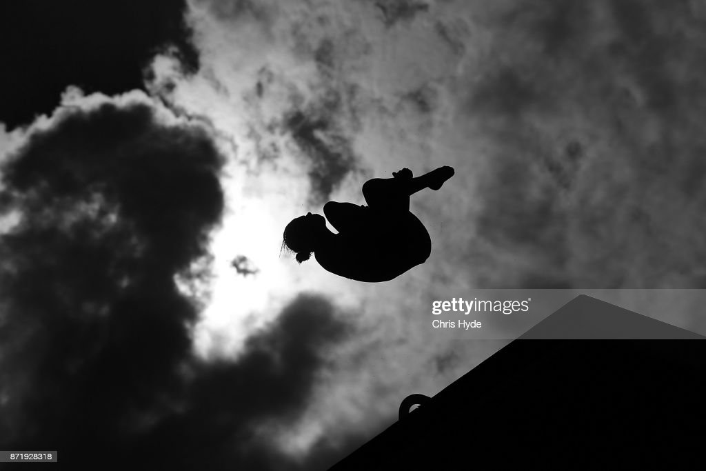 Competitor dives in the Womens 10m platform semi final warm up during the FINA Gold Coast Diving Grand Prix on November 9, 2017 in Gold Coast, Australia.
