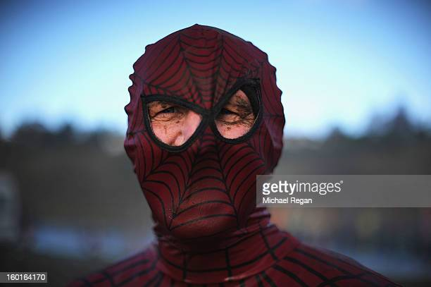 A competitor dressed as spider man poses during the Tough Guy Challenge endurance race on January 27 2013 in Telford England Every year thousands of...