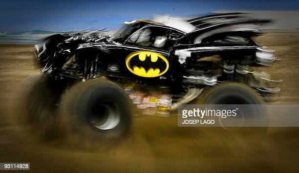 A competitor drives a truck during a Monster Jam event at Lluis Companys stadium in Barcelona on October 24 2009 in Barcelona AFP PHOTO/JOSEP LAGO