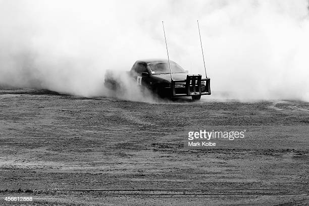 A competitor drives in the Australian national circle work championships final on the second day of the 2014 Deni Ute Muster at the Play on the...