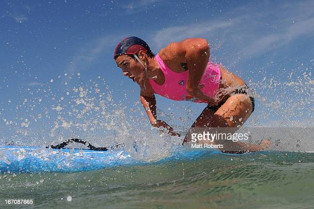 Competitor enter the water for the paddle portion of the Open Ironman during the 2013 Australian National Surf Lifesaving Titles on April 19 2013 on...