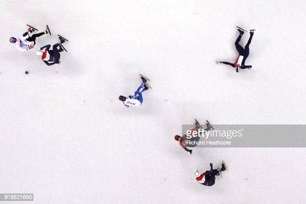 Competitor falls down during the Men's 1500m Short Track Speed Skating final on day one of the PyeongChang 2018 Winter Olympic Games at Gangneung Ice...