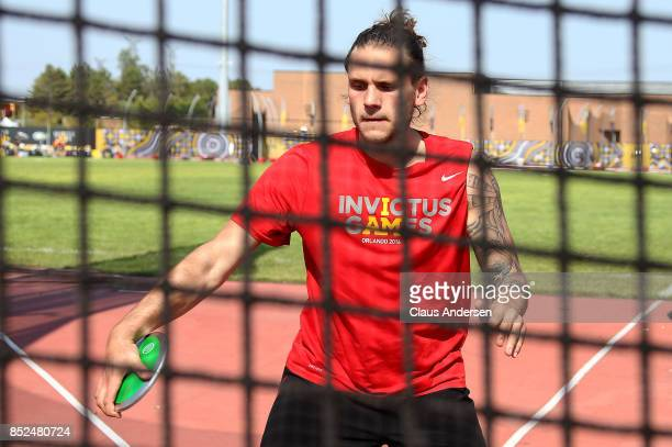A competitor from Denmark practices throwing the discus prior to Day One of Athletics during the 2017 Invictus Games at York Lions Stadium on...
