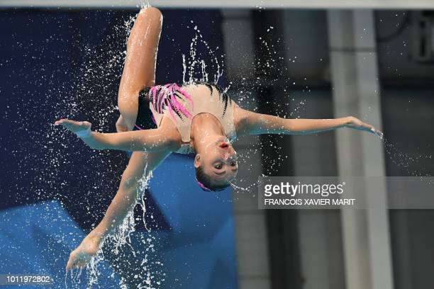 TOPSHOT A competitor from Team Ukraine competes in the team technical routine final at the Scotstoun Sports Campus during the 2018 European...