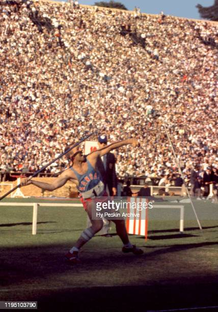 Competitor from the University of Kansas participates in the javelin throw event during the 1960 U.S. Olympic Track and Field Trials on July 1, 1960...