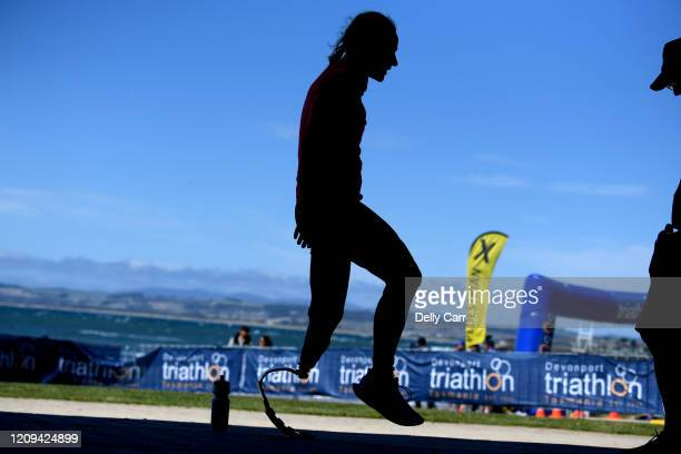 Competitor gently warms up in the shade pre race during 2020 Devonport ITU World Paratriathlon Series on February 29, 2020 in Devonport, Australia.