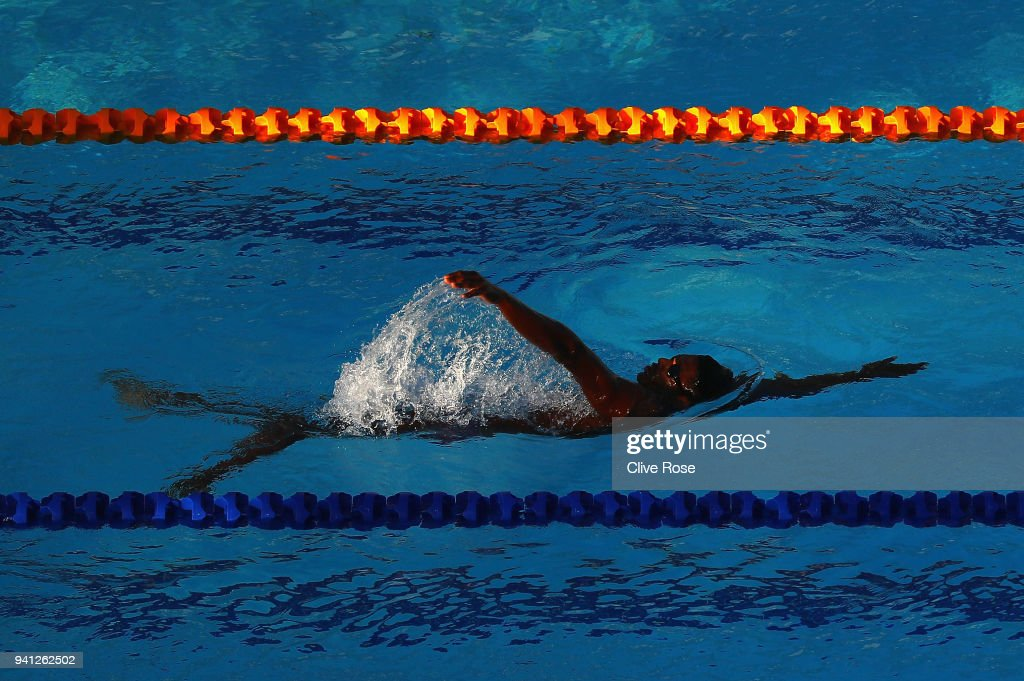 A competitor in action during swim training ahead of the 2018 Commonwealth Games at the Optus Aquatics centre on April 2, 2018 in Gold Coast, Australia.