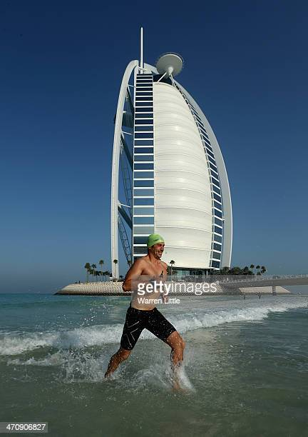 A competitor in action during the 2014 Wild Wadi's Swim Burj Al Arab on February 21 2014 in Dubai United Arab Emirates