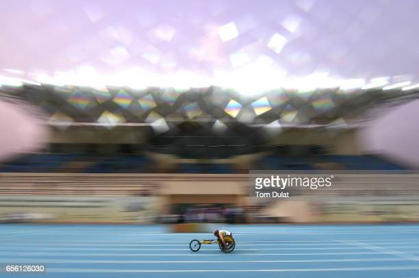 A competitor in action during the 400m Wheelchair Men's race during the 9th Fazza International IPC Athletics Grand Prix Competition World Para...