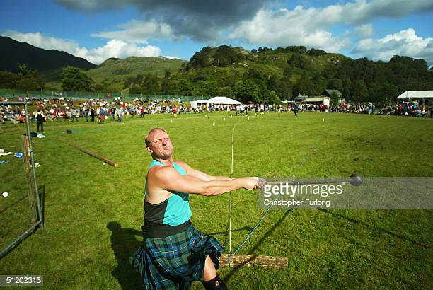 A competitor in the hammer throw during the Glenfinnan Highland Games August 21 Glenfinnan Scotland The Glenfinnan Highland Games are one of the most...