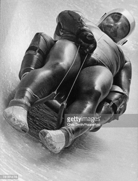 A competitor in the Luge event during the 1984 Winter Olympic Games in Sarajevo