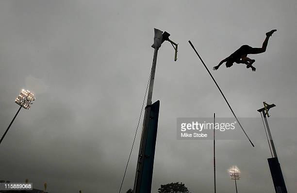 A competitor in the Mens Pole Vault makes an attempt during the adidas Grand Prix at Icahn Stadium on June 11 2011 in New York City