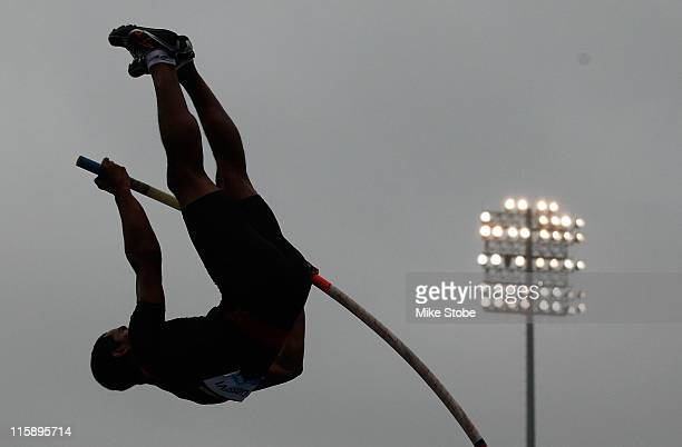 A competitor in the Men's Pole Vault makes an attempt during the adidas Grand Prix at Icahn Stadium on June 11 2011 in New York City