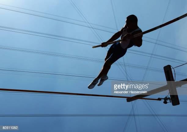 A competitor in the Pole Vault discipline of the Men's Decathlon vaults at the National Stadium on Day 14 of the Beijing 2008 Olympic Games on August...