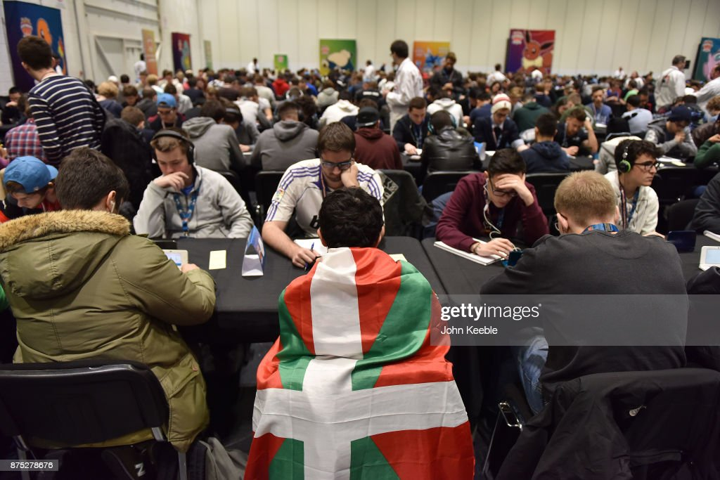 A competitor is draped in a Basque region flag at the Pokemon European International Championships at ExCel on November 17, 2017 in London, England. Thousands of competitors from around the world will attend the Pokémon TCG and Video Game Europe International Championships over three days, the first International Championships of the 2018 season. The competition will feature high Championship Point payouts and a prize pool value of up to $250,000.