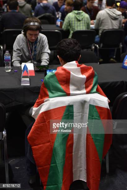 A competitor is draped in a Basque region flag at the Pokemon European International Championships at ExCel on November 17 2017 in London England...