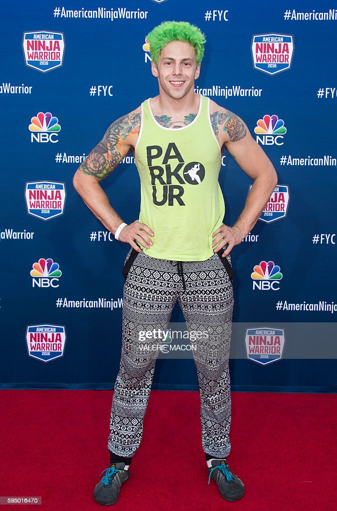 Competitor Jamie Rahn attends 'American Ninja Warrior' screening and course demonstration In celebration of the show's first Emmy Award nomination, at Universal Studio, in Universal City, California, on August 24, 2016. / AFP / VALERIE