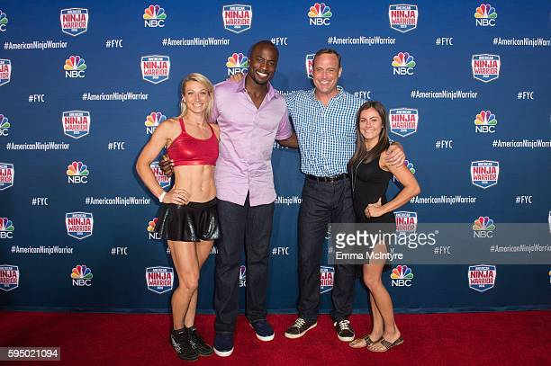 Competitor Jessie Graff hosts Akbar Gbajabiamila and Matt Iseman and Kacy Catanzaro attend the screening event of NBC's 'American Ninja Warrior' in...