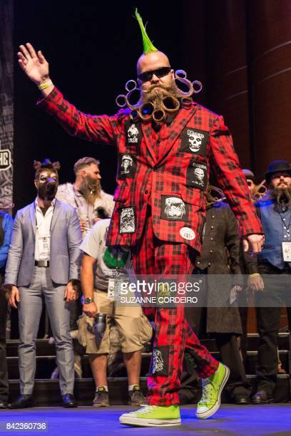 Competitor John Banks at the 2017 Remington Beard Boss World Beard Moustache Championships held at the Long Center for the Performing Arts on...
