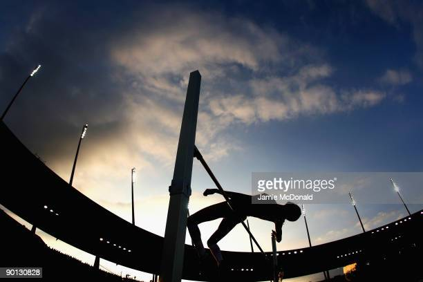 Competitor jumps in the Womens High Jump during the IAAF Golden League Weltklasse Zurich meeting at the Stadion Letzigrund on August 28, 2009 in...
