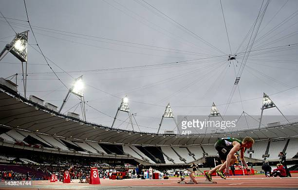 A competitor leaves the starting blocks in the 400 metre hurdles during the BUCS Outdoor Athletics Championships a part of the London Prepares series...