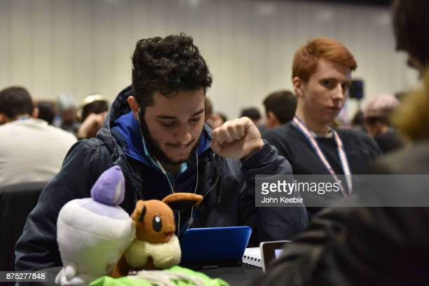 A competitor makes a gesture at the Pokemon European International Championships at ExCel on November 17 2017 in London England Thousands of...