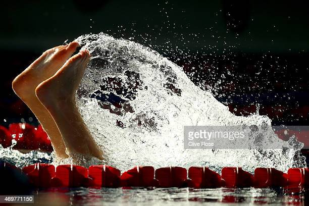 A competitor makes a turn during warm up prior to competition on day two of the British Swimming Championships at the London Aquatics Centre on April...
