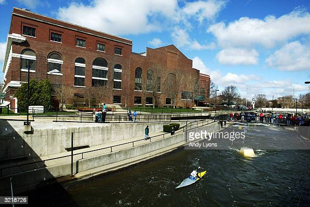 A competitor manages the course during the US Olympic Whitewater Slalom Canoe/Kayak Team Trials on April 4 2004 at the East Race Waterway in South...