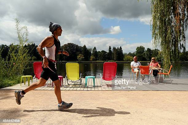 A competitor on the run leg during the Challenge Triathlon Vichy on August 31 2014 in Vichy France