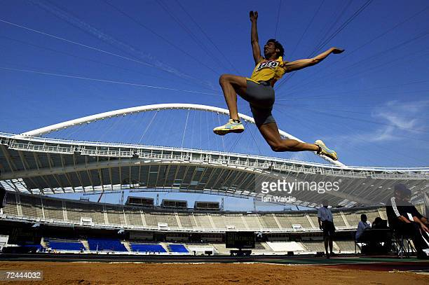 Competitor peforms in the long jump qualifying during the Greek National Championships in the Olympic stadium on June 10, 2004 in Athens. The meeting...