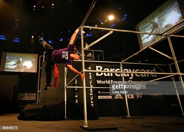 A competitor performs on a specially designed course at the World Free Run Championships on September 3 2008 in London England Judged on athletic...