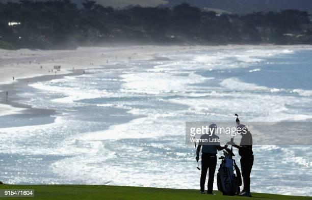 A competitor plays a practice round ahead of the ATT Pebble Beach ProAm on the Pebble Beach Golf Links on February 7 2018 in Pebble Beach California