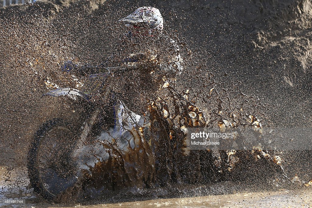 A competitor ploughs through heavy conditions in the adult solo race of the 32nd running of the RHL Weston Beach Race on October 19, 2014 in Somerset, United Kingdom.