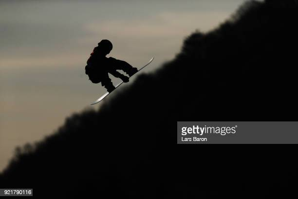 A competitor practices prior to the Men's Big Air Qualification on day 12 of the PyeongChang 2018 Winter Olympic Games at Alpensia Ski Jumping Centre...