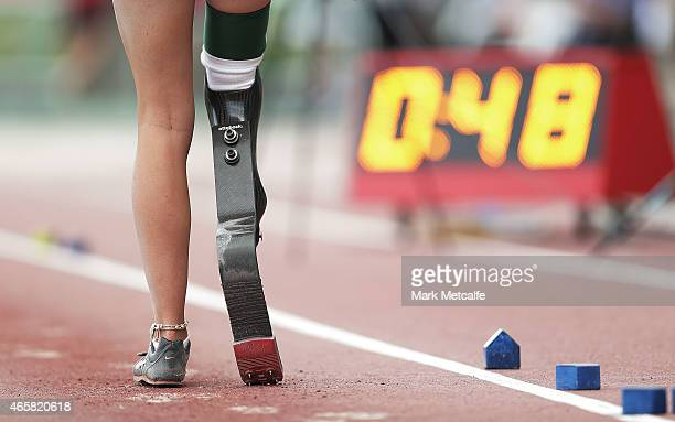 A competitor prepares to begin her run up in the Under 16 Womens ParaAthletics Long Jump event during the Australian Junior Athletics Championships...