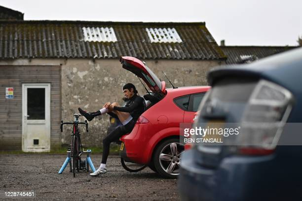 Competitor prepares to compete in the 44th Wigmore CC Hollingbourne Hill Climb, on the north downs in south-east England on September 27 a time trial...