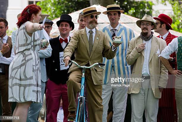 A competitor prepares to participate in the Chap Olympiad an eccentric sporting event held in Bedford Square on July 13 2013 in London England The...