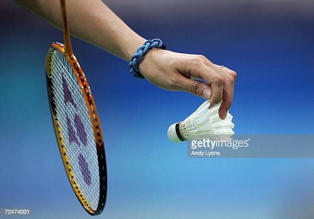 A competitor prepares to serve in the women's singles badminton match on August 15 2004 during the Athens 2004 Summer Olympic Games in Olympic Hall...