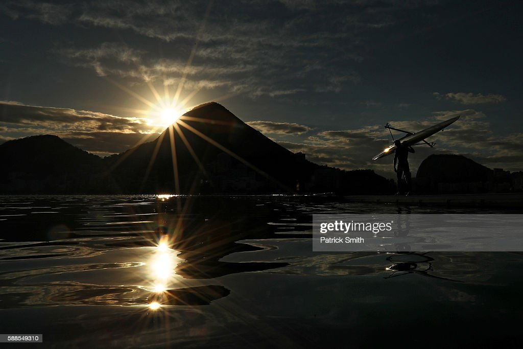 A competitor prepares to warm up prior to rowing on Day 6 of the 2016 Rio Olympics at Lagoa Stadium on August 11, 2016 in Rio de Janeiro, Brazil.